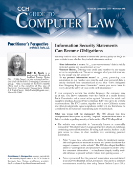 Practitioner's Perspective Information Security Statements Can Become Obligations by Holly K. Towle, J.D.