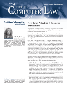 Practitioner's Perspective New Laws Affecting E-Business Transactions