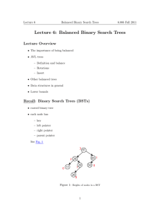 Lecture 6: Balanced Binary Search Trees Lecture Overview