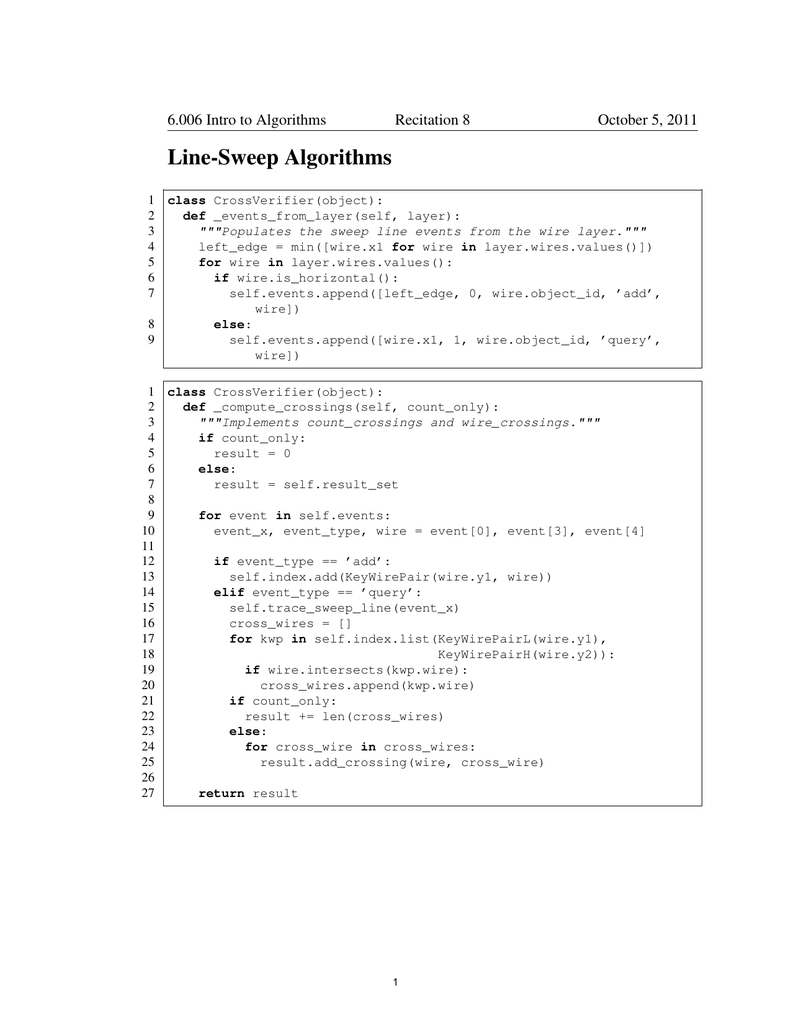 Line-Sweep Algorithms 6 006 Intro to Algorithms Recitation 8
