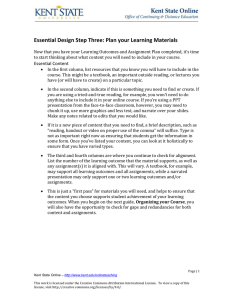 Essential Design Step Three: Plan your Learning Materials