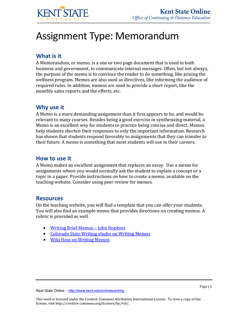 assignment type memorandum what is it