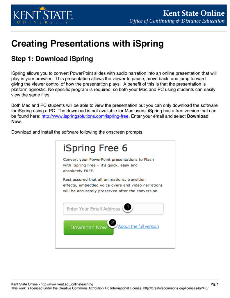 Creating Presentations with iSpring Step 1: Download iSpring