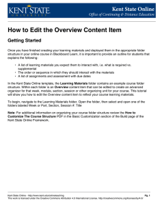 How to Edit the Overview Content Item Getting Started