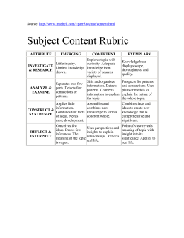 Subject Content Rubric