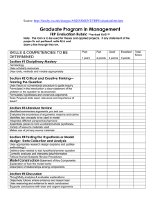 Graduate Program in Management FRP Evaluation Rubric Source: