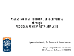 ASSESSING INSTITUTIONAL EFFECTIVENESS through PROGRAM REVIEW META-ANALYSIS