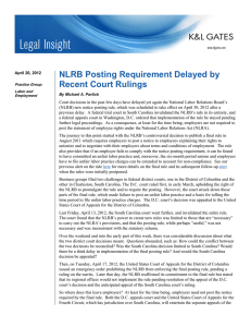 NLRB Posting Requirement Delayed by Recent Court Rulings