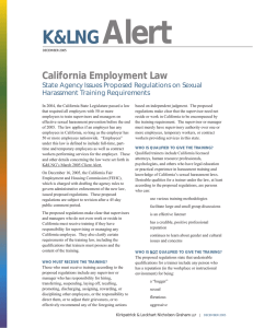 Alert K&LNG California Employment Law State Agency Issues Proposed Regulations on Sexual