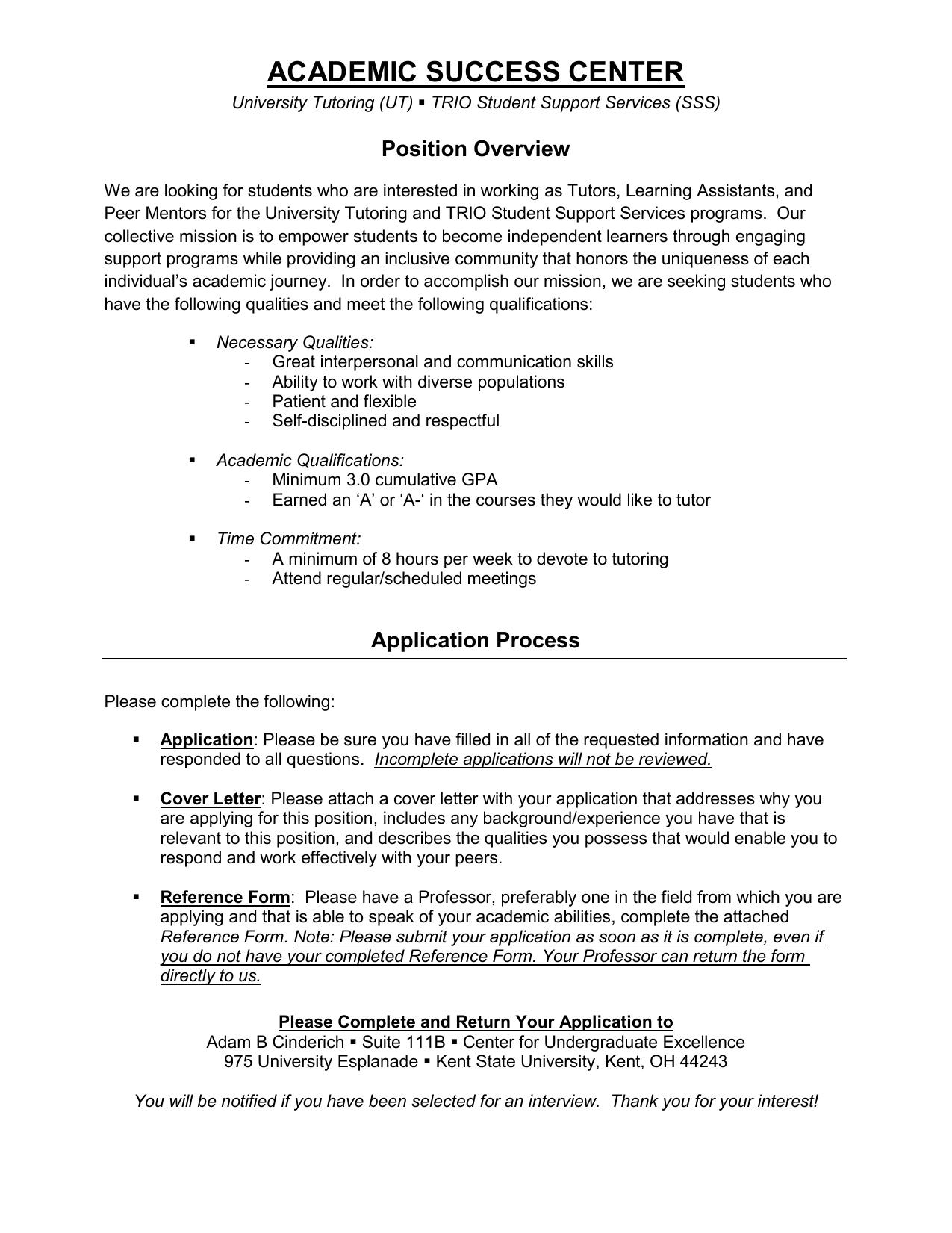 ACADEMIC SUCCESS CENTER Position Overview