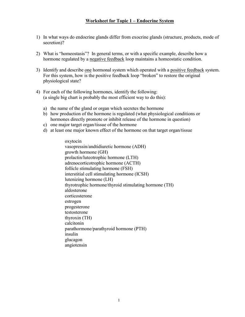 Worksheet For Topic 1 Endocrine System Secretion