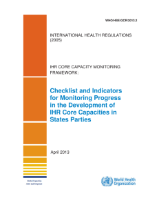 Checklist and Indicators for Monitoring Progress in the Development of