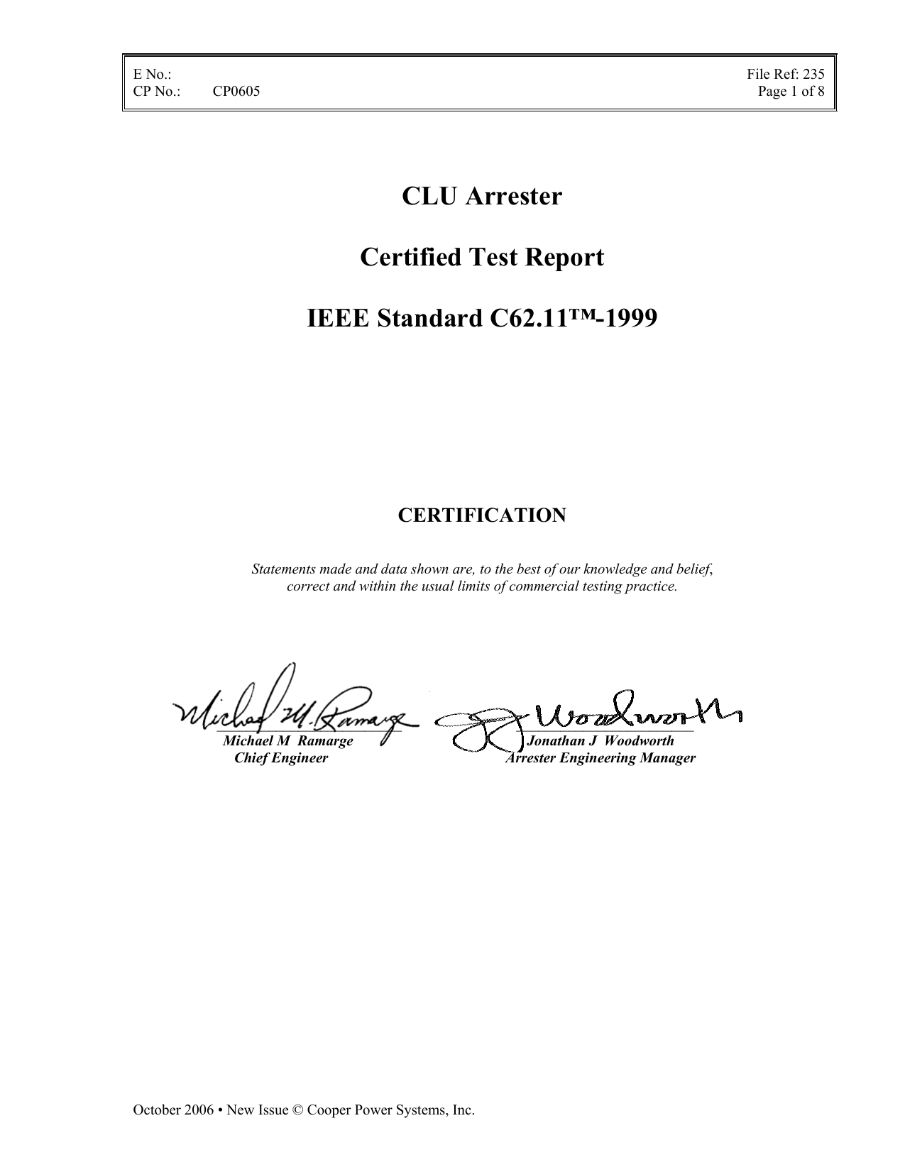 Clu Arrester Certified Test Report Ieee Standard C6211 1999