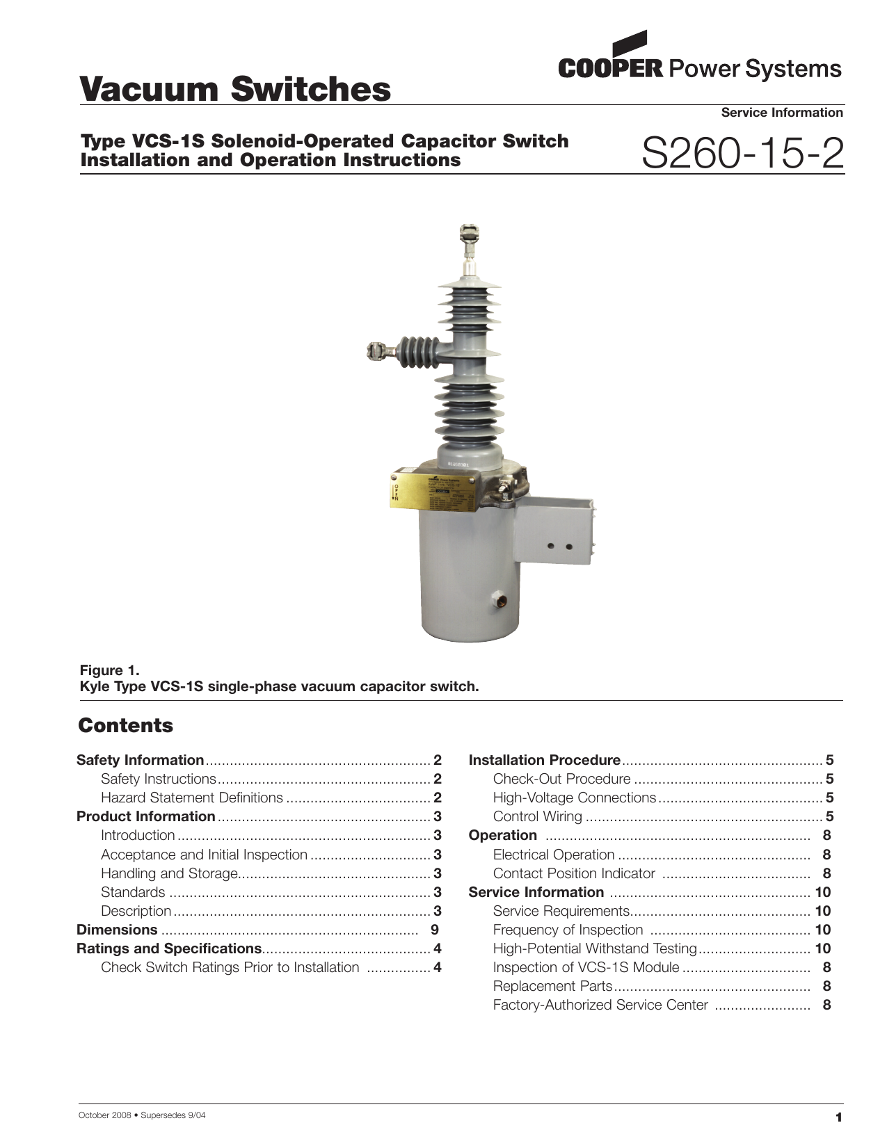 S260 15 2 Vacuum Switches Contents Type Vcs 1s Solenoid Operated Wiring Diagram Capacitor Switch
