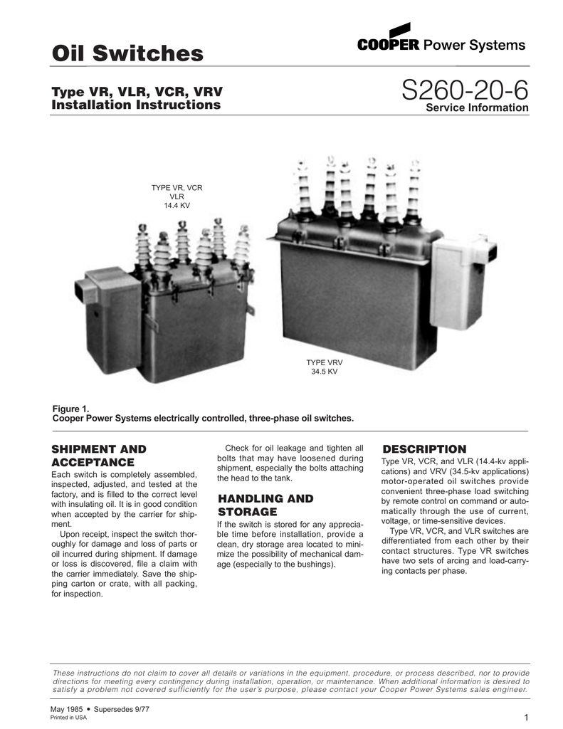 S260-20-6 Oil Switches Type VR, VLR, VCR, VRV Installation Instructions