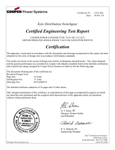 Certified Engineering Test Report Kyle Distribution Switchgear