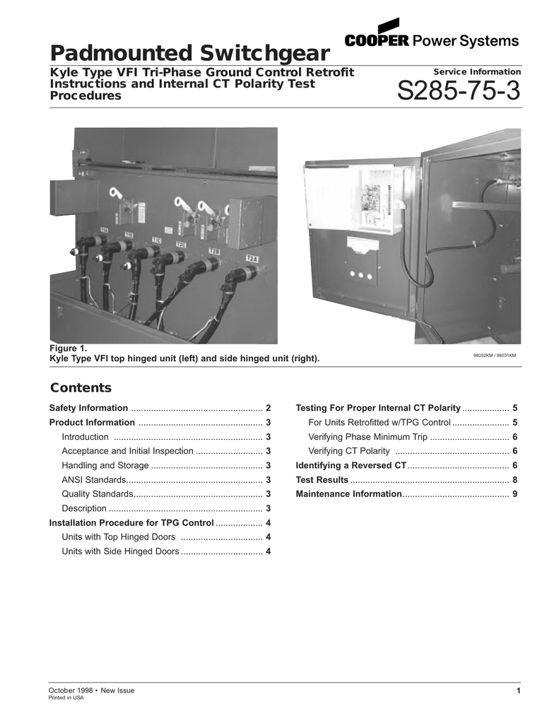 S285-75-3 Padmounted Switchgear Contents Kyle Type VFI Tri-Phase