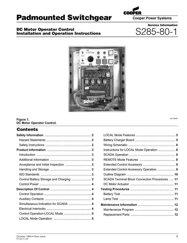 S285 80 1 Padmounted Switchgear Contents Dc Motor Operator Control Carrier Rva C Wiring Diagram