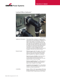 PRODUCT BRIEF Latched Elbow Indicator*