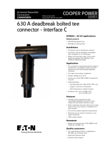 630 A deadbreak bolted tee connector - interface C COOPER POWER SERIES