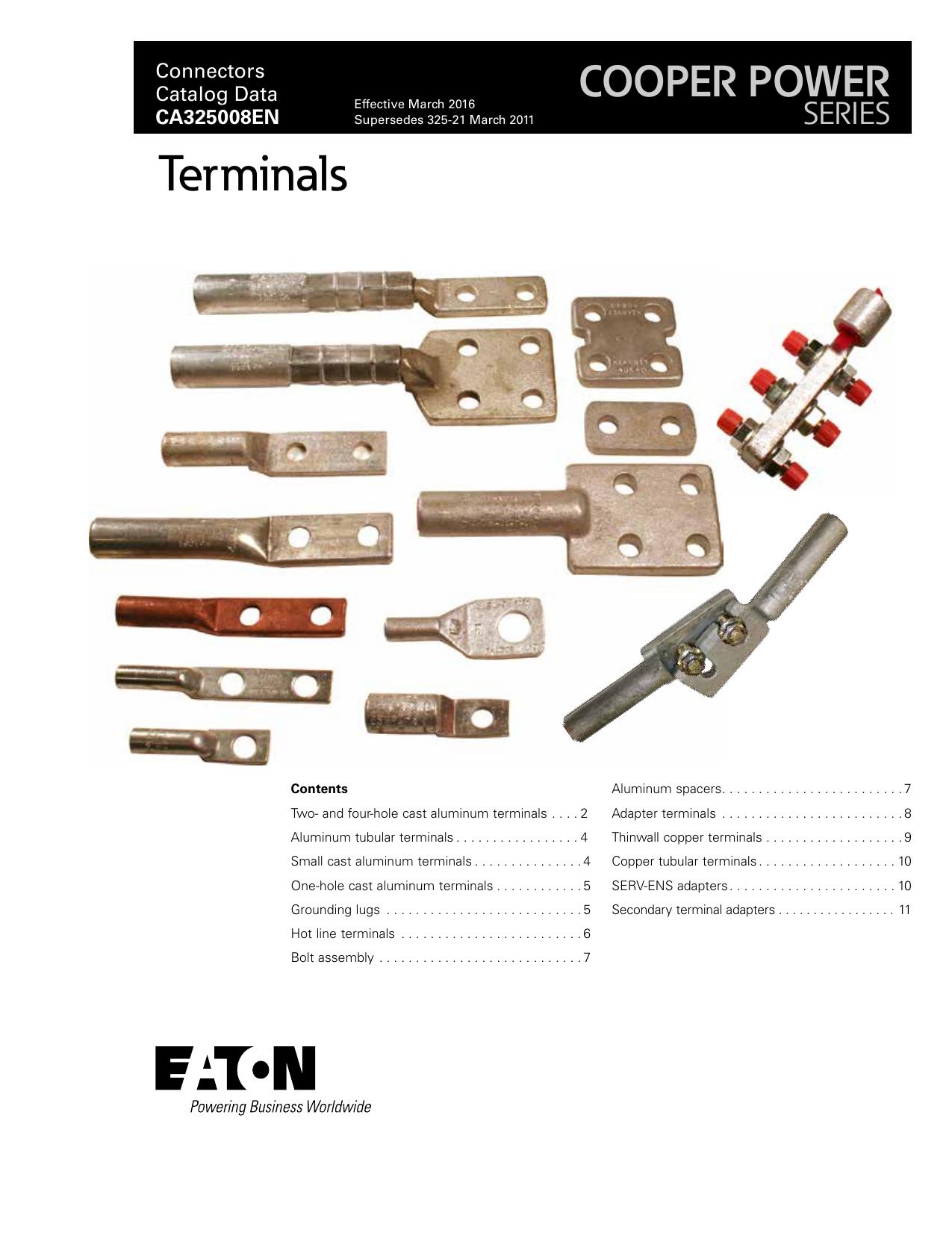 Terminals Cooper Power Series Connectors Aluminum Wiring