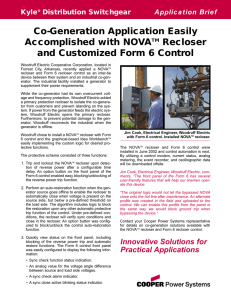 Co-Generation Application Easily Accomplished with NOVA Recloser Kyle