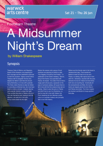 A Midsummer Night's Dream Sat 21 - Thu 26 Jun Synopsis