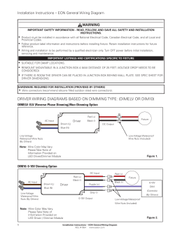WARNING Installation Instructions – EON General Wiring Diagram •