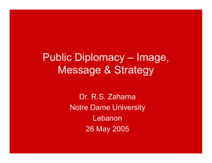 Public Diplomacy – Image, Message & Strategy Dr. R.S. Zaharna Notre Dame University
