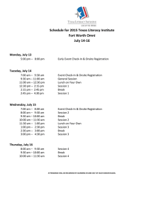 Schedule for 2015 Texas Literacy Institute Fort Worth Omni July 14-16