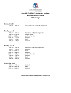 Schedule for 2015 Texas Literacy Institute Houston Westin Galleria June 29-July 1