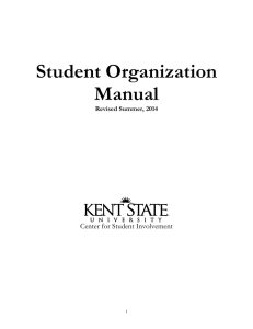 Student Organization Manual  Center for Student Involvement