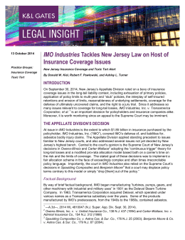 Insurance Coverage Issues IMO Industries 13 October 2014