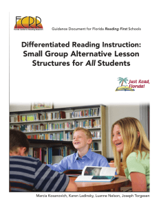 Small Group Alternative Lesson All Differentiated Reading Instruction: Reading First
