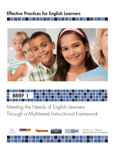 BRIEF 1 Meeting the Needs of English Learners