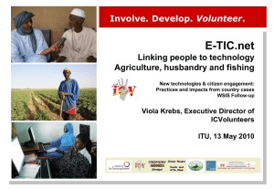 E-TIC.net Linking people to technology Agriculture, husbandry and fishing Volunteer