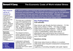 Bernard H Casey The Economic Costs of Work-related Stress