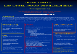 A SYSTEMATIC REVIEW OF Developing an evidence base 1. BACKGROUND