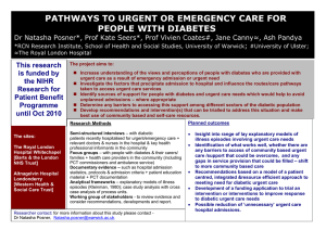 PATHWAYS TO URGENT OR EMERGENCY CARE FOR PEOPLE WITH DIABETES ;
