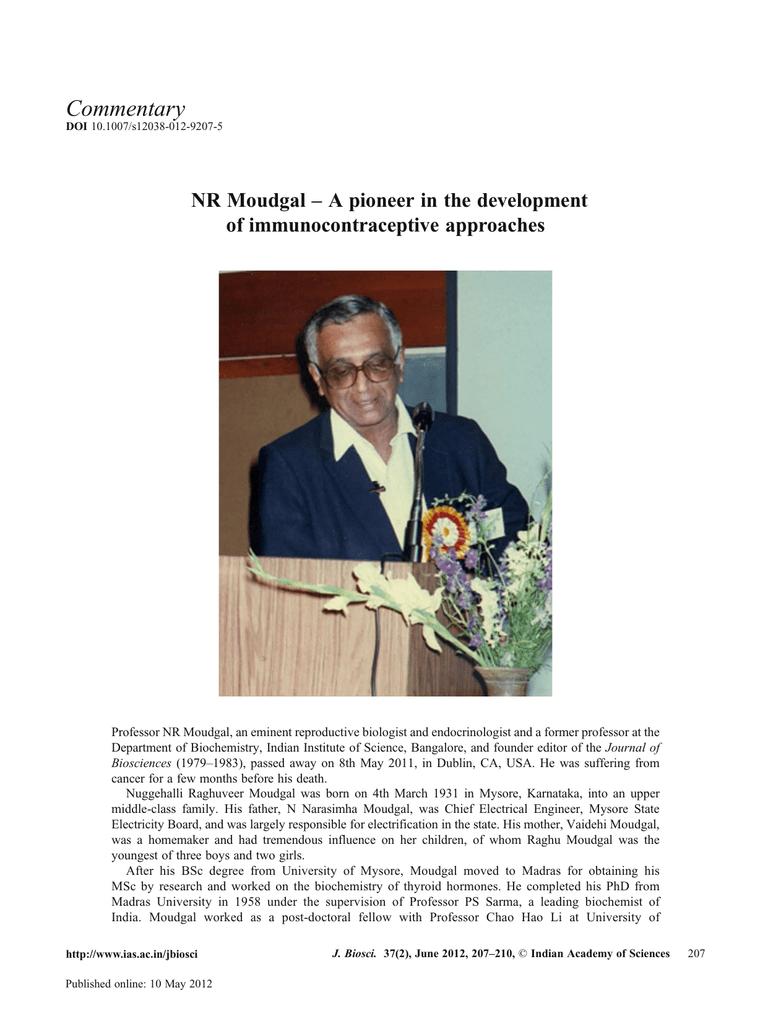 Nuggehalli Raghuveer Moudgal