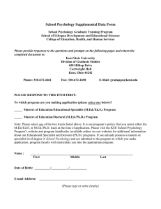 School Psychology Supplemental Data Form