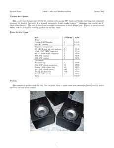 Project Plans HSSP Audio and Speaker-building Spring 2007 Project  description