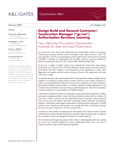 "Construction Alert Design-Build and General Contractor/ Construction Manager (""gc/cm"") Authorization Revisions Looming"