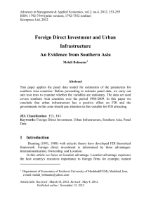 Foreign Direct Investment and Urban Infrastructure An Evidence from Southern Asia