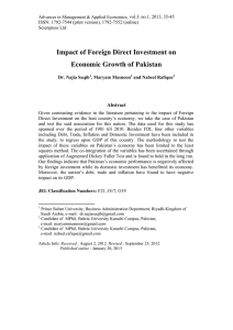Impact of Foreign Direct Investment on Economic Growth of Pakistan Abstract