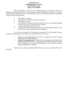 OVERVIEW OF REQUIRED BILL OF SALE FOR PURCHASE OF TREES AND TIMBER