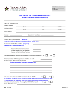 APPLICATION FOR TIFMAS GRANT ASSISTANCE REQUEST FOR TIFMAS APPARATUS (VEHICLE)