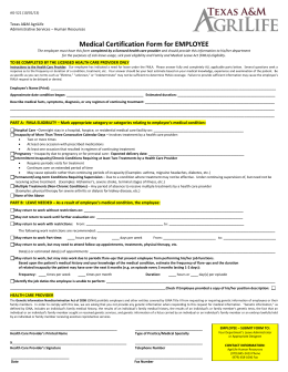 Medical Certification Form for EMPLOYEE Texas A&M AgriLife