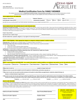 Medical Certification Form for FAMILY MEMBER Texas A&M AgriLife