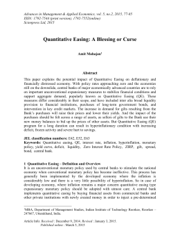 quantitative easing essay This group won the day in japan, where the central bank debuted quantitative  easing in the early 2000s it held the early edge elsewhere in.